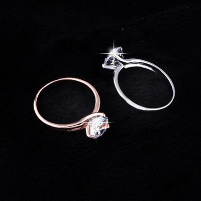 White Rhinestone Heart Design Crown S925 Silver Jewelry Size 6-8 Charming Ring