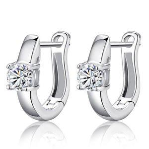 1 Pair New 925 Sterling Silver Women White Gemstones Women's Hoop Earrings C036
