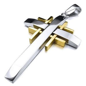 Unisex Men's Plain Chain Titanium Steel Bible Cross Inlay Pendant Necklace Gift