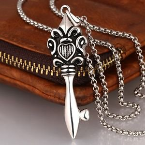 Fashion Stainless Steel Necklaces for Men Gothic Link Chain Pendant Polish