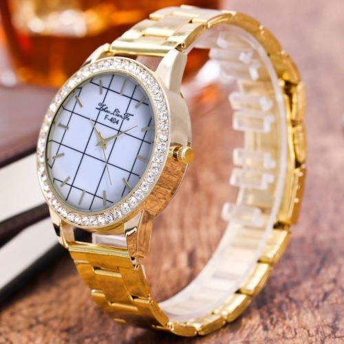 2017 New Fashion Creative Bright  Gold PU Leather Quartz Business Wrist Watch