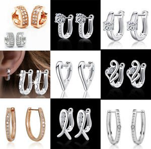New Women 925 Sterling Silver Plated Fashion Hoop Dangle Earring Studs Jewelry