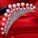 Wedding Bridal Princess Crystal Hair Comb Accessory Tiara Pearl Crown Silver