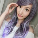 New Women Fashion Long Harajuku Purple Gradient Curly Hair Cosplay Party Wig