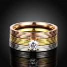 Women 18KGP 3-In-1 Titanium Stainless Steel Tri Color CZ Striped Wedding Ring