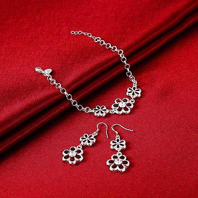 Charming Rhinestone Silver Plated Bracelet Pendant Necklace Flower Jewelry Set