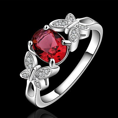 925 Silver Plated Ring Crystal Rhinestone Wedding Engagement Jewelry For Women