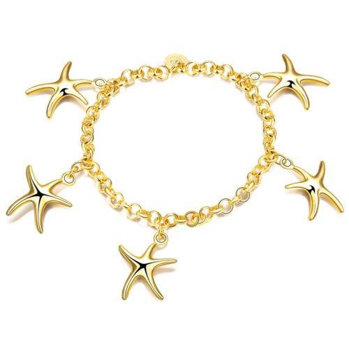 NEW Simple Elegant Planting Gold Oval Crescent Pendant Bracelet For Women Girls