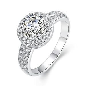 Fashion Women Bridal Crystal Ring Band Wedding Engagement Jewelry Silver Plated