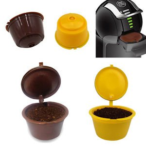 Refillable Reusable Coffee Capsules Pod Cup Brewers Refill Filter Yellow/Brown