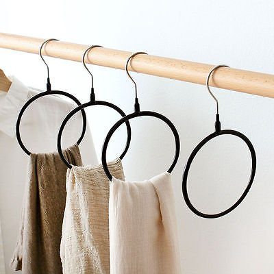 Tie Belt Scarf Wood Hanger 20 Chrome Bars Hanging Rack Holder Storage Organizers