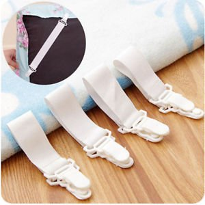 4 x Adjustable Bed Sheet Buckles Holder Sheet Clamp Holder Fastener