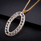 Fashion Women Hot Selling Crystal Designer Inspired Chain Oval Pendant Necklace