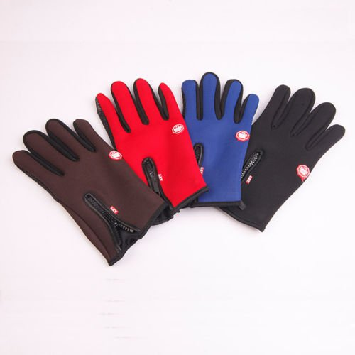 Father's Gift Men Winter Leather Motorcycle Full Finger Touch Screen Warm Gloves