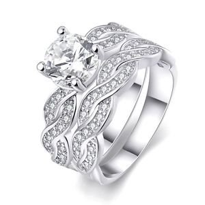 925 Silver Plated Ring Bridal Crystal Band Wedding Engagement Jewelry For Women