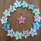 100pcs 2 Holes Heart Wooden Painting Flower Sewing Buttons For Scrapbooking New