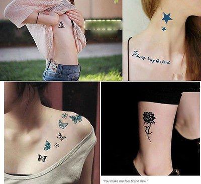 Black Metallic Flash Temporary Tattoos Stickers Temporary Body Art Tatoo