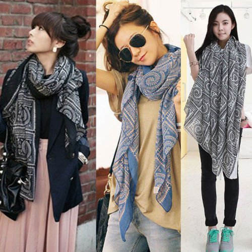 New Women Fashion Pretty Long Soft Chiffon Scarf Wrap Shawl Stole Scarves