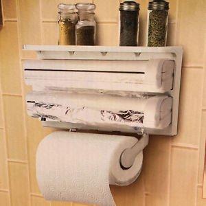 Paper Dispenser Triple for Cling Film Wrap Aluminium Foil Kitchen & Roll Holder