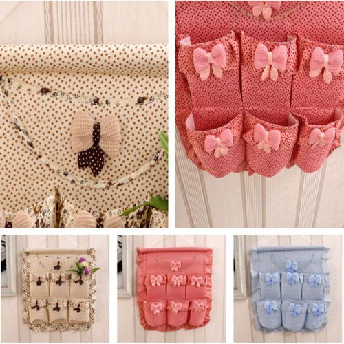 Country Style Cotton/Linen Fabric Wall Hanging Storage Bag Organizer Hanging Bag