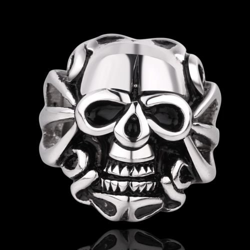 Hot Men's Demon Huge Silver Gothic Skull Death Stainless Steel Ring Band US 7 8