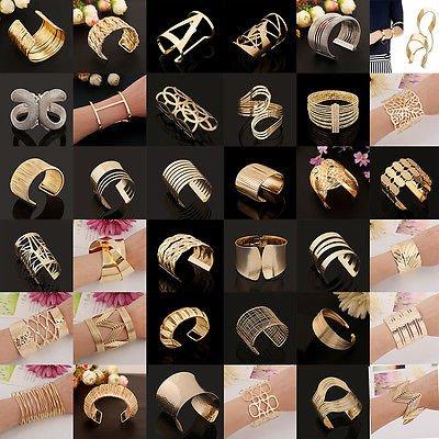 Retro Silver/Gold Plated Cuff Bangle Leaf Adjustable Open Bracelet Wedding Gift