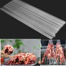 6PCS BBQ Barbecue Stainless Steel Grilling Kabob Kebab Flat Skewers Needle 45cm