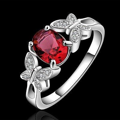 Fashion 925 Silver Plated Ring Crystal Rhinestone Wedding Engagement Jewelry
