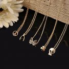 Gold Tone Fashion Crystal Floral Heart Necklace Chic Rope Chain Pendant Jewelry