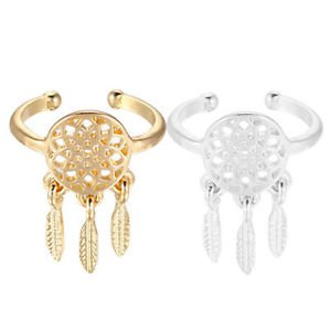 SIZE Adjustable Bohemian Boho Ring Feather Charm Pendant Dream Catcher Wish Ring