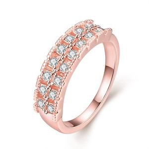 Best Friend Rings Crystal Rhinestone Band Wedding Engagement Jewelry Rose Gold