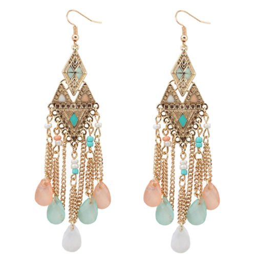 Vintage Alloy Metal Carved Diamond Long Tassels Pendant Dangle Stud Earrings