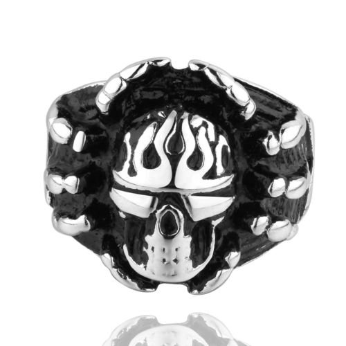 US 8 9 Cross Men's Biker Dead Gothic Punk Death Stainless Steel Biker Ring Band