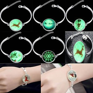 Charm Cuff Silver Bangle Lots Style Fashion Bracelet Jewelry Luminous pendant