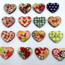 100x Wood Craft Buttons Scrapbook Sewing Mix Lots Flower Painted Star Shape New