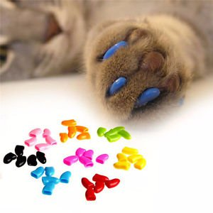 New Cat Nail Caps Plastic Soft Pet Dog Paws Claw Covers 20pcs Sheath Protective