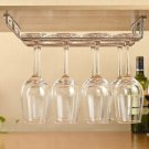 2 Rows Stainless Steel Wine Glass Hanging Rack Holder Fix Shelf Bar Hanger