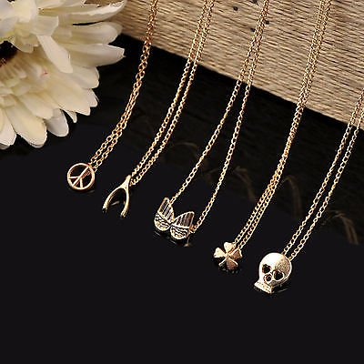 Clover Gold Rhinestone Chain Jewelry Pendant Bib Necklace LOvE Present Statement