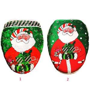 Xmas Christmas Decorations Santa Claus Toilet Seat Cover Rug Bathroom Soft Cloth