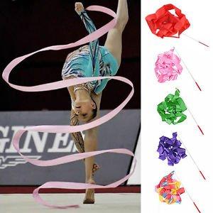Pratical 4M Gym Rhythmic Art Gymnastic Ballet Streamer Twirling Rod Dance Ribbon