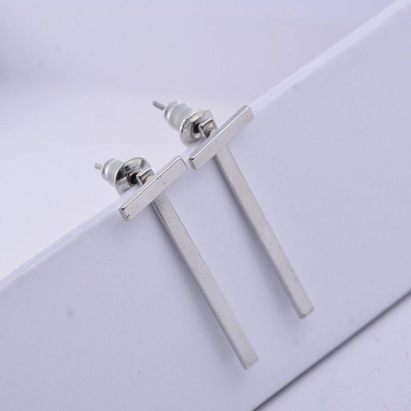 Simple Punk Geometric Silver T Shape Ear Stud Earrings Womens Jewelry Party Gift
