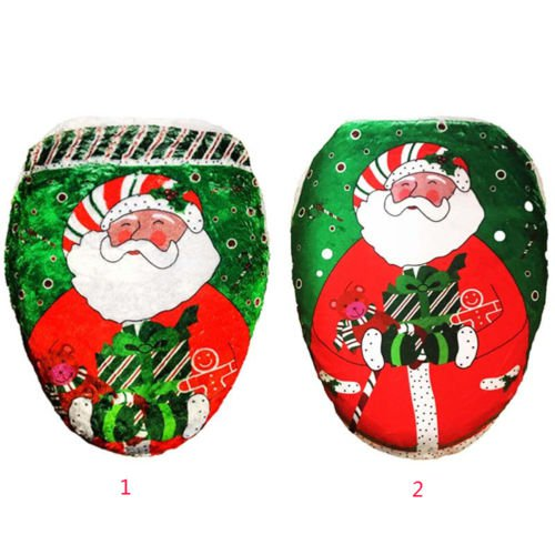 3pcs/Set XMAS Santa SnowmanToilet Seat Cover +Rug Bathroom Christmas Decoration