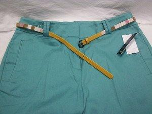 LARRY LEVINE WOMEN'S STRETCH PANTS sz 8 w/ CUTE BELT Slim Thro' Hip & Thigh NWT!