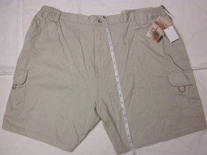RUGGED EARTH OUTFITTERS MENS CARGO SHORTS 2XL/44-46 WAIST KHAKI SIDE ELASTIC NWT