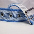 "UNISEX COTTON FABRIC BELT L/BLUE & WHITE 36"" LONG PERFECT FOR JEANS etc NEW"