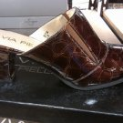 SEXY VIXEN VIA PIELLA WOMEN'S SHINY CROC LOOK SHOES 6.5M BRONZE HEELS PUMPS NIB