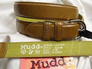 "MUDD LADIES WOMEN'S LEATHER BELT M/BROWN S/M LENGTH 38"" NWT"