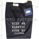"CLIPPER MEN'S COTTON SHORTS BLACK size 48"" w/SIDE ELASTIC DOUBLE PLEATED NWT"