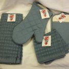 9 Pc Cotton Kitchen Oven Mitt 2 Pocket Potholder 2 Hand Towels 4 Dish Cloths NEW