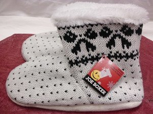 JOE BOXER KNITTED WARM SLIPPERS COMFY WHITE 4-10 WOMEN'S HSE NON-SLIP SHOES NEW